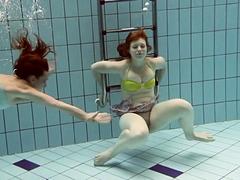 Hot underwater lesbos Ala and Lenka get horny