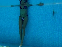 Mary Kalisy Russian Pornstar swims naked in the pool