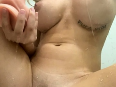 Blonde busty babe masturbation video