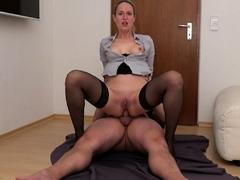 Blonde Milf In Black Stockings Masturbates With Her Dildo