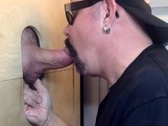 Gloryhole mature dicksucking until tasting cum