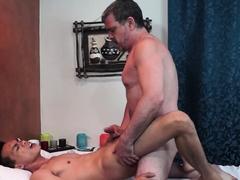 Massaging Asian twink barebacked by older guy