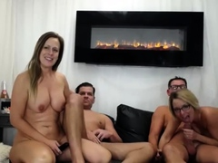 Hardcore Swapping Foursome With Two Horny Milf Wifes Live At
