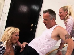 Cindy Behr busty threesome with Sharon Pink fucks her man