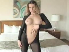 sexy black pantyhose bodysuit nylon encasement