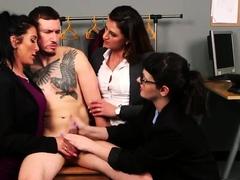 CFNM femdom group disciplining thief with a hj