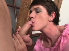 Cock-hungry girlfriends mom riding his huge dick