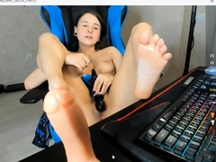 playing with my hitachi vibrator and feet up