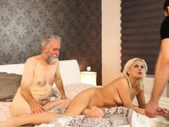 DADDY4K. Taboo sex of belle and BFs daddy ends with cumshot