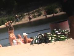 Busty girls at beach hidden cam