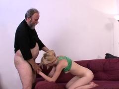 Hottie rides old man's cock