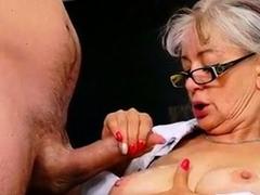 Granny Doctor Sucks Patients Dick to Get Semen Sample