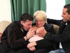 Two dudes pick up big tits blonde grandma
