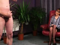 Spex wearing voyeur giggling during JOI