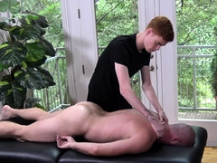 Ginger hung twink masseur raw fucks his muscle older client