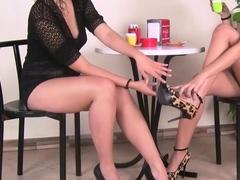 Barefoot lesbians playing hot footsies