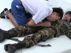 Military Asian twink barebacks tight bf