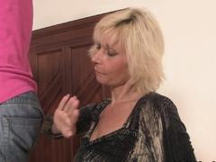 Blonde girlfriends mom seduces him into taboo sex