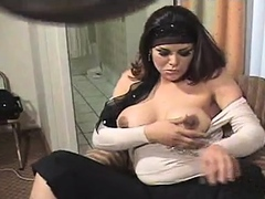 Tranny with Big Tits Jerking Off her Big Cock