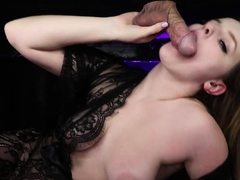 Curvy lingerie babe jerking and sucking