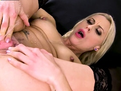 Two Huge Black Dildos And Piss Play For Blonde Babe